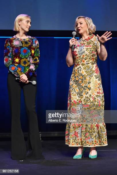 Actor Saoirse Ronan and director Josie Rourke speak onstage during the CinemaCon 2018 Focus Features Presentation at Caesars Palace during CinemaCon...