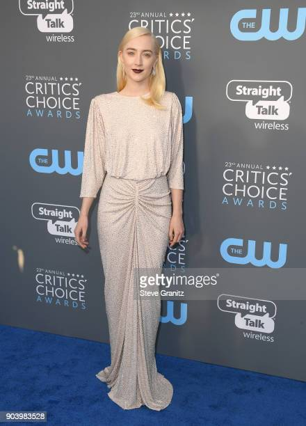 Actor Saoirse Ronan attends The 23rd Annual Critics' Choice Awards at Barker Hangar on January 11 2018 in Santa Monica California