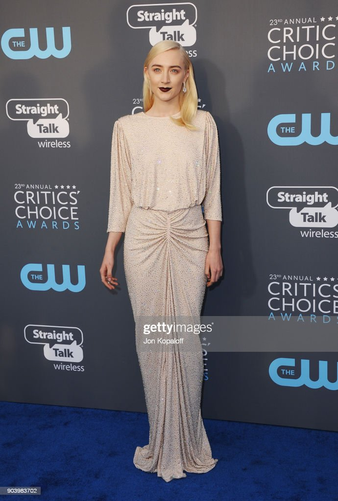Actor Saoirse Ronan attends The 23rd Annual Critics' Choice Awards at Barker Hangar on January 11, 2018 in Santa Monica, California.