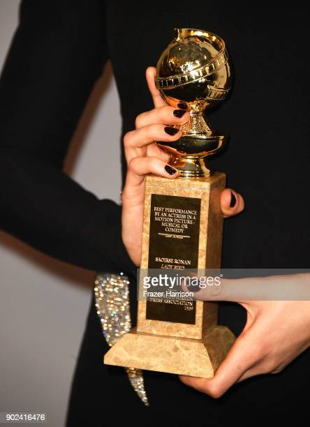 Actor Saoirse Ronan Golden Globes trophy detail attends 19th Annual PostGolden Globes Party hosted by Warner Bros Pictures and InStyle at The Beverly...