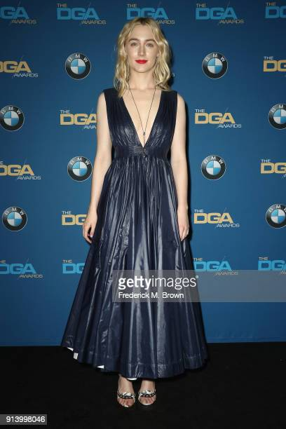 Actor Saoirse Ronan poses in the press room during the 70th Annual Directors Guild Of America Awards at The Beverly Hilton Hotel on February 3 2018...
