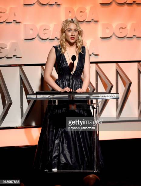Actor Saoirse Ronan speaks onstage during the 70th Annual Directors Guild Of America Awards at The Beverly Hilton Hotel on February 3 2018 in Beverly...