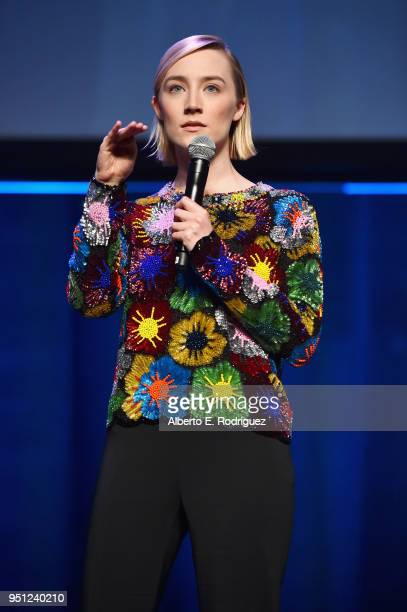Actor Saoirse Ronan speaks onstage during the CinemaCon 2018 Focus Features Presentation at Caesars Palace during CinemaCon the official convention...
