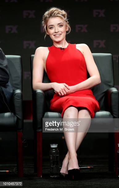 Actor Sarah Bolger speaks onstage at the 'Mayans MC' panel during the FX Network portion of the Summer 2018 TCA Press Tour at The Beverly Hilton...