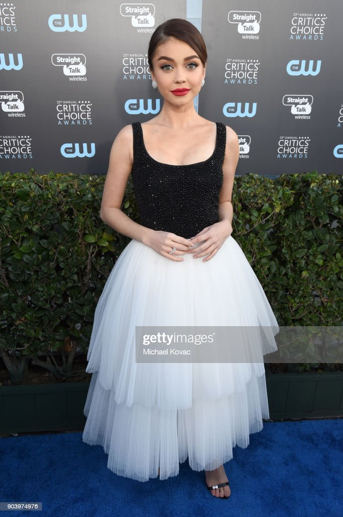 Actor Sarah Hyland attends Moet & Chandon celebrate The 23rd Annual Critics' Choice Awards at Barker Hangar on January 11, 2018 in Santa Monica, California.