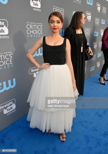 Actor Sarah Hyland attends The 23rd Annual Critics' Choice Awards at Barker Hangar on January 11 2018 in Santa Monica California