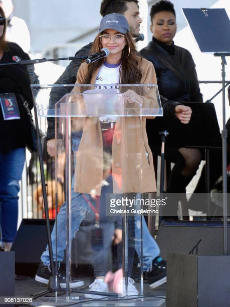 Actor Sarah Hyland speaks during the Women's March Los Angeles 2018 on January 20 2018 in Los Angeles California