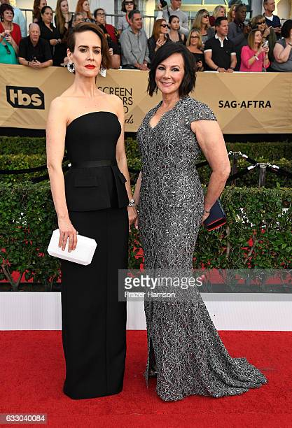 Actor Sarah Paulson and writer Marcia Clark attend The 23rd Annual Screen Actors Guild Awards at The Shrine Auditorium on January 29, 2017 in Los...