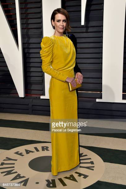 Actor Sarah Paulson attends the 2017 Vanity Fair Oscar Party hosted by Graydon Carter at Wallis Annenberg Center for the Performing Arts on February...