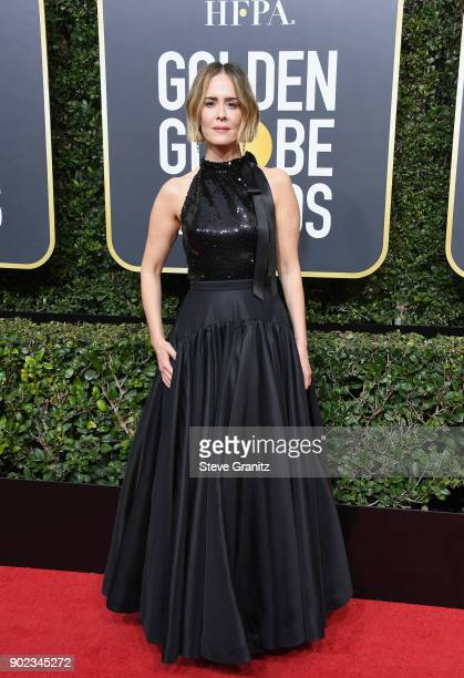 Actor Sarah Paulson attends The 75th Annual Golden Globe Awards at The Beverly Hilton Hotel on January 7 2018 in Beverly Hills California