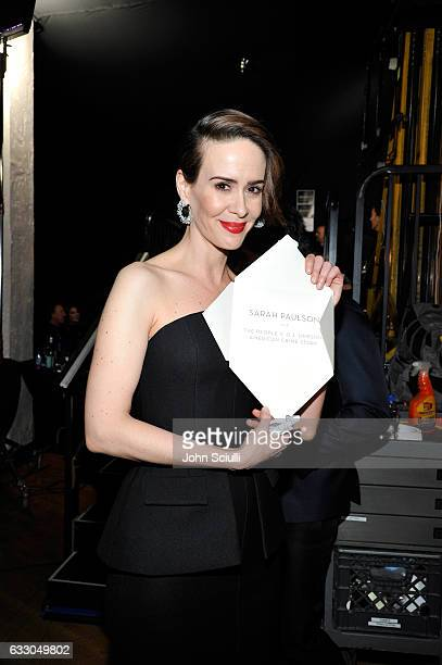 Actor Sarah Paulson winner of the Outstanding Performance by a Female Actor in a Miniseries or Television Movie award for 'The People v O J Simpson...