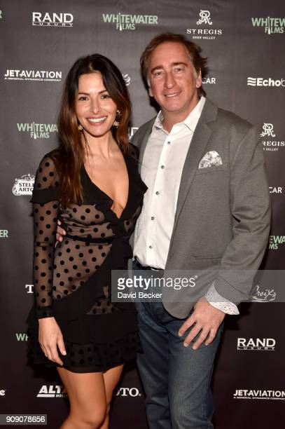 Actor Sarah Shahi and President/CEO of RAND Luxury Inc Job Expo International Bradford Rand attend the Whitewater Films Reception At The RAND Luxury...