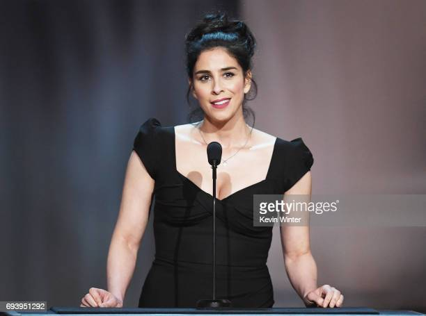 Actor Sarah Silverman speaks onstage during American Film Institute's 45th Life Achievement Award Gala Tribute to Diane Keaton at Dolby Theatre on...