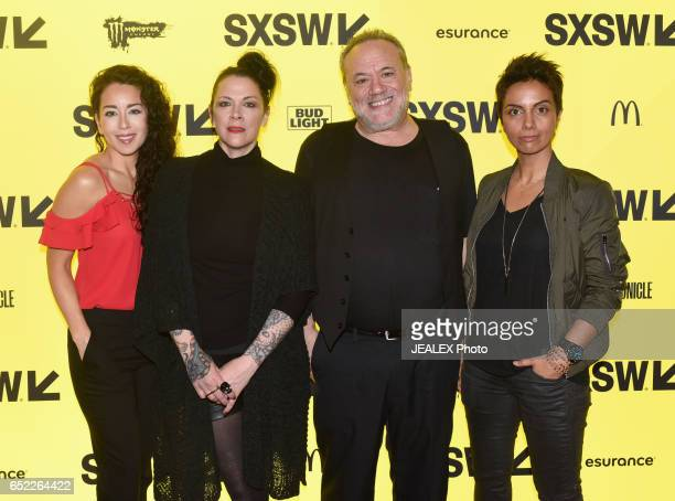 Actor Sari Sanchez director Jennifer Reeder cofounder of SXSW Louis Black and actor Fawzia Mirza attend the premiere of Signature Move during 2017...