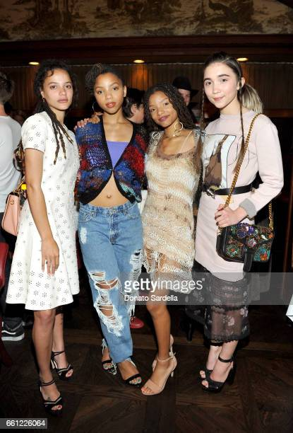 Actor Sasha Lane actors/singers Chloe Bailey Halle Bailey and actor Rowan Blanchard attend the Coach Rodarte celebration for their Spring 2017...