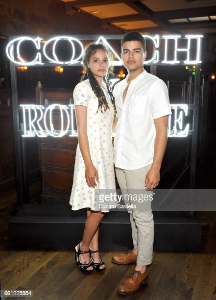 Actor Sasha Lane and Sergio Darcy Lane attend the Coach Rodarte celebration for their Spring 2017 Collaboration at Musso Frank on March 30 2017 in...