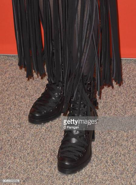 Actor Sasha Lane boot detail attends the 'The Miseducation Of Cameron Post' And 'I Like Girls' Premieres during the 2018 Sundance Film Festival at...