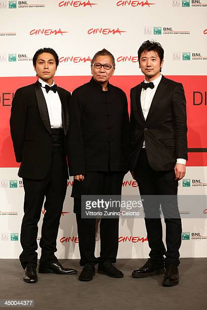 Actor Satoshi Judai director Takashi Miike and actor Hiroaki Harada attend the 'Blue Planet Brothers' Photocall during The 8th Rome Film Festival at...
