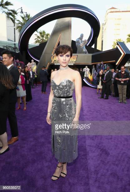Actor Scarlett Johansson attends the Los Angeles Global Premiere for Marvel Studios' Avengers: Infinity War on April 23, 2018 in Hollywood,...