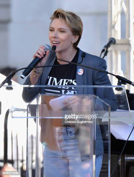 Actor Scarlett Johansson speaks during the Women's March Los Angeles 2018 on January 20 2018 in Los Angeles California