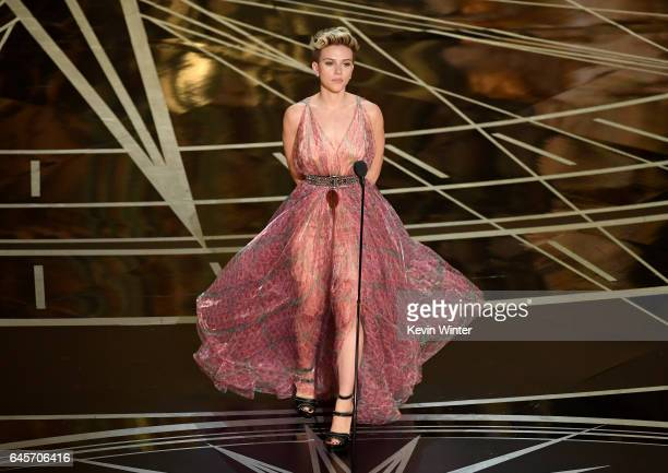Actor Scarlett Johansson speaks onstage during the 89th Annual Academy Awards at Hollywood Highland Center on February 26 2017 in Hollywood California