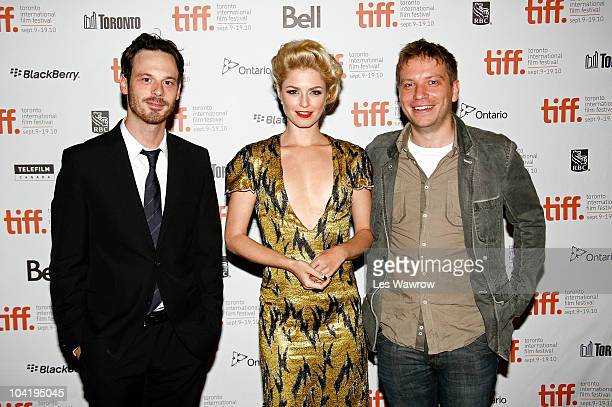 Actor Scoot McNairy actress Whitney Able and writer/director Gareth Edwards attend the Monsters Premiere during the 35th Toronto International Film...
