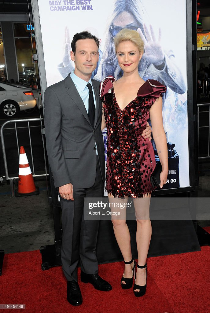 Actor Scoot McNairy and actress Whitney Able arrive for the Premiere Of Warner Bros. Pictures' 'Our Brand Is Crisis' held at TCL Chinese Theatre on October 26, 2015 in Hollywood, California.
