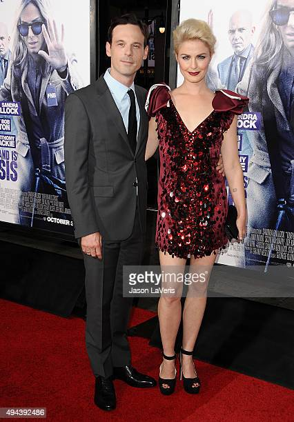 Actor Scoot McNairy and actress Whitney Able attend the premiere of Our Brand Is Crisis at TCL Chinese Theatre on October 26 2015 in Hollywood...