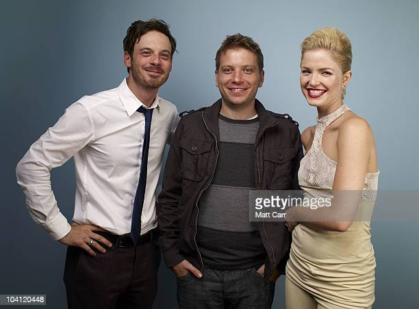 Actor Scoot McNairy director Gareth Edwards and actress Whitney Able from Monsters poses for a portrait during the 2010 Toronto International Film...