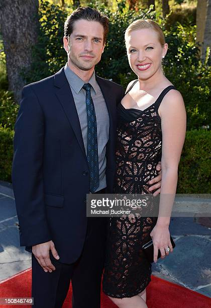 Actor Scott Bailey and actress Adrienne Frantz arrives at the unveiling of the Leonardo da Vinci sculpture Horse And Rider at Greystone Mansion on...