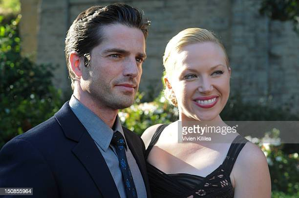 Actor Scott Bailey and actress Adrienne Frantz attend the World Grand Unveiling Of Leonardo da Vinci's Sculpture Horse and Rider at Greystone Mansion...