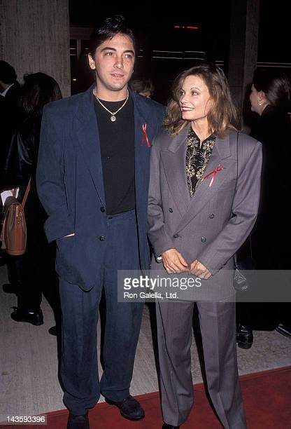 Actor Scott Baio and actress Kay Lenz attend the Falling from Grace Century City Premiere on February 19 1992 at the Cineplex Odeon Century Plaza...