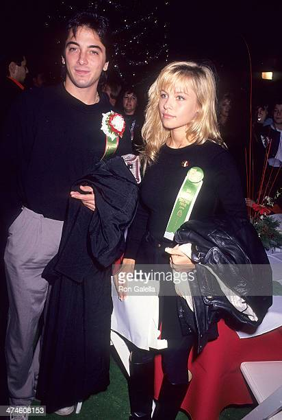 Actor Scott Baio and actress Pamela Anderson attend the 59th Annual Hollywood Christmas Parade on November 25, 1990 at KTLA Studios in Hollywood,...