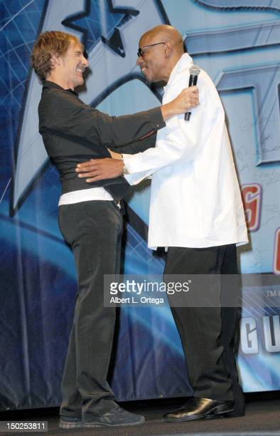 Actor Scott Bakula and actor Avery Brooks attend day 4 of the 11th Annual Official Star Trek Convention at the Rio Suites and Hotel on August 12 2012...