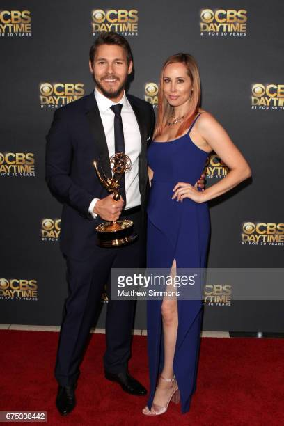 Actor Scott Clifton and Nicole Lampson attend the CBS Daytime Emmy after party at Pasadena Civic Auditorium on April 30 2017 in Pasadena California