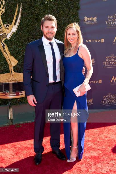 Actor Scott Clifton and wife Nicole Lampson arrives at the 44th Annual Daytime Emmy Awards at Pasadena Civic Auditorium on April 30 2017 in Pasadena...