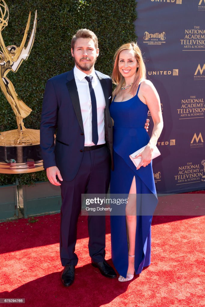 Actor Scott Clifton and wife Nicole Lampson arrives at the 44th Annual Daytime Emmy Awards at Pasadena Civic Auditorium on April 30, 2017 in Pasadena, California.