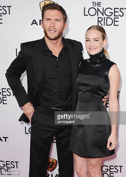 Actor Scott Eastwood and actress Britt Robertson arrive at the Los Angeles Premiere 'The Longest Ride' at TCL Chinese Theatre IMAX on April 6 2015 in...