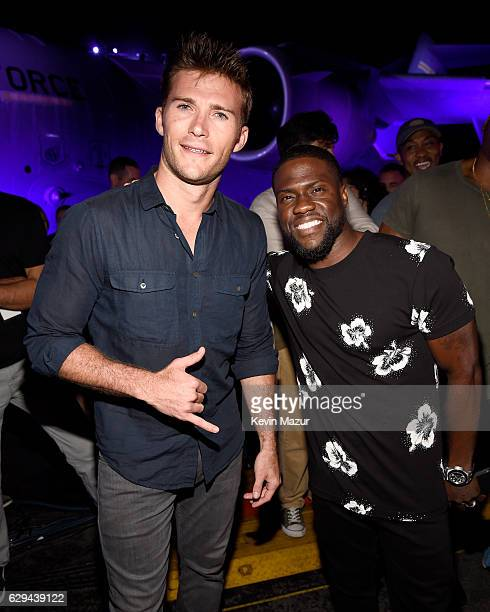 Actor Scott Eastwood and comedian Kevin Hart are seen backstage at 'Spike's Rock the Troops' event held at Joint Base Pearl Harbor Hickam on October...