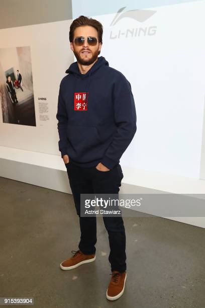 Actor Scott Eastwood attends the LiNing Fall/Winter 2018 Collection Fashion Show during 2018 New York Fashion Week at Skylight Modern on February 7...