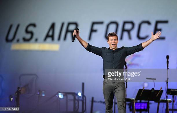 Actor Scott Eastwood speaks onstage during 'Spike's Rock the Troops' event held at Joint Base Pearl Harbor Hickam on October 22 2016 in Honolulu...