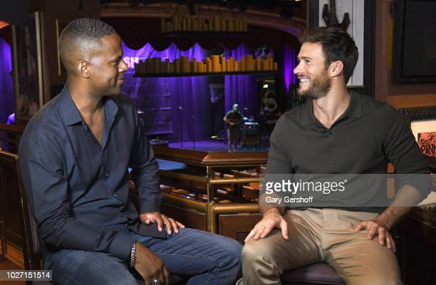 Actor Scott Eastwood visits 'Extra' with host AJ Calloway on September 5 2018 in New York City