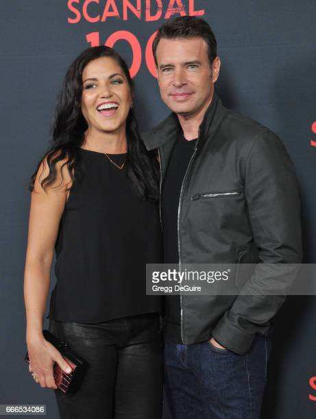 Actor Scott Foley and wife Marika Dominczyk arrive at ABC's Scandal 100th Episode Celebration at Fig Olive on April 8 2017 in West Hollywood...
