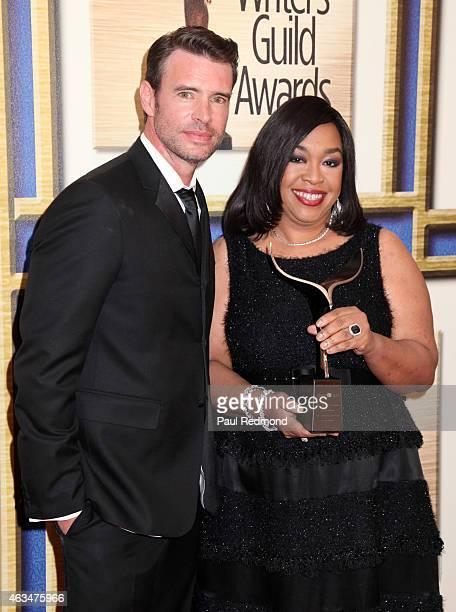 Actor Scott Foley and writer/producer Shonda Rhimes attends the 2015 Writers Guild Awards LA Ceremony at the Hyatt Regency Century Plaza on February...