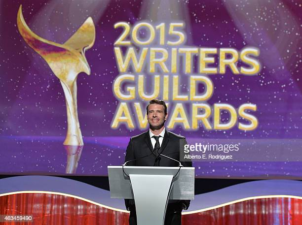 Actor Scott Foley speaks onstage at the 2015 Writers Guild Awards L.A. Ceremony at the Hyatt Regency Century Plaza on February 14, 2015 in Century...
