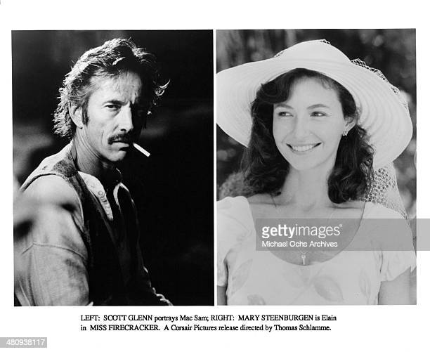 Actor Scott Glenn on set actresses Mary Steenburgen in a scene from the movie Miss Firecracker circa 1989