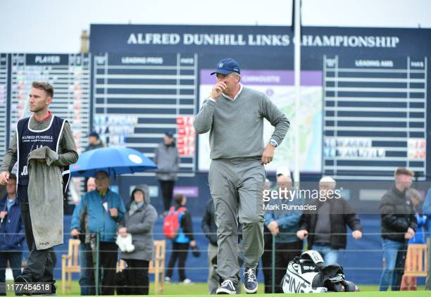 Actor Scott Mahoney on the 18th hole during Day two of the Alfred Dunhill Links Championship at Carnoustie Golf Links on September 27 2019 in St...