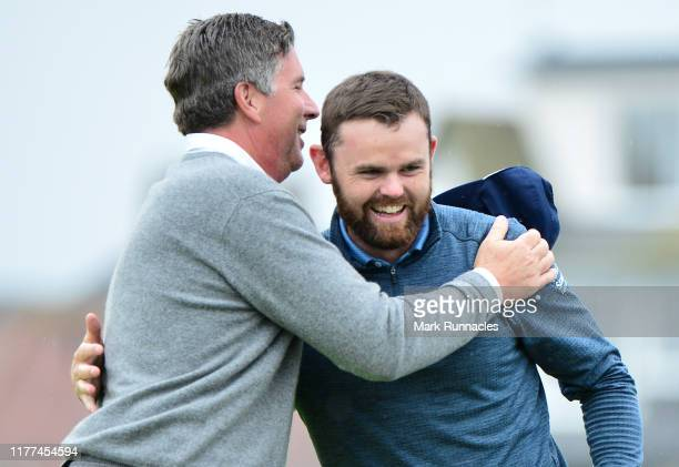 Actor Scott Mahoney on the 18th hole with Liam Johnston of Scotland during Day two of the Alfred Dunhill Links Championship at Carnoustie Golf Links...