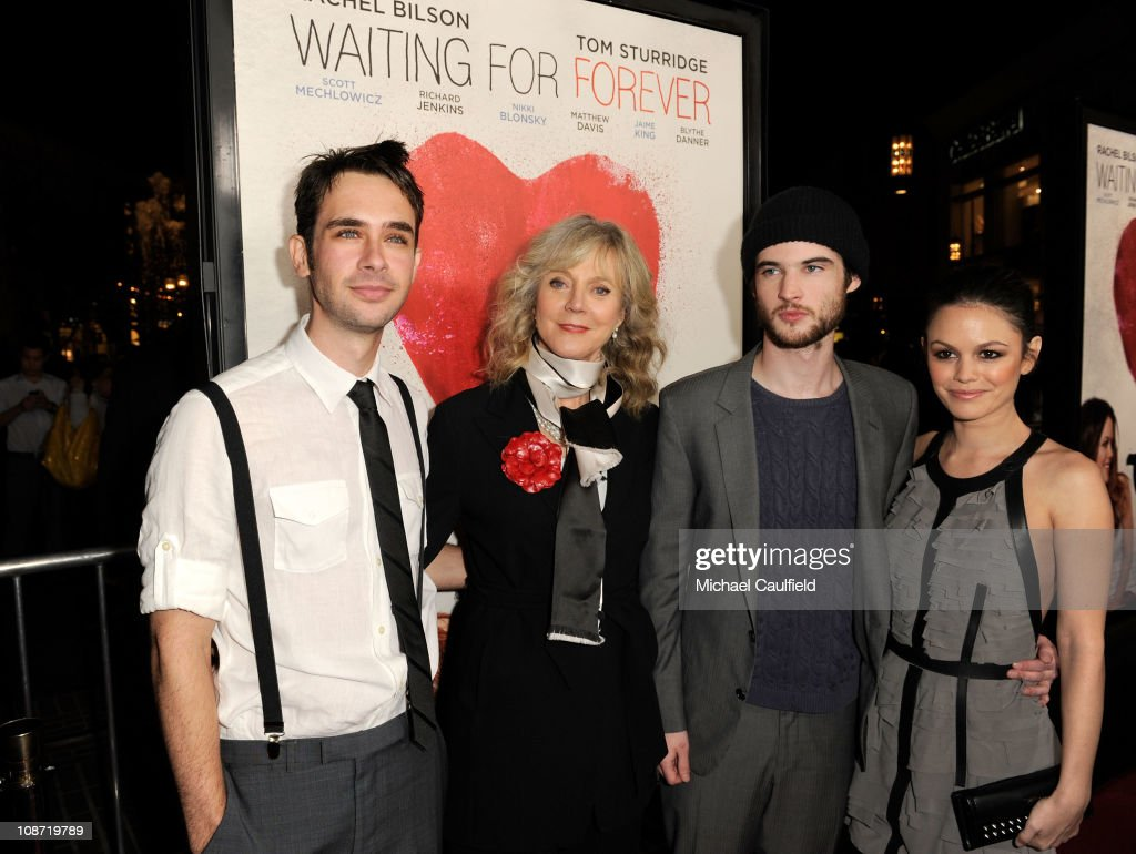 Actor Scott Mechlowicz, actress Blythe Danner, actor Tom Sturridge and actress Rachel Bilson arrive at the Los Angeles Premiere of 'Waiting For Forever' held at the Pacific Theatres at The Grove on February 1, 2011 in Los Angeles, California.