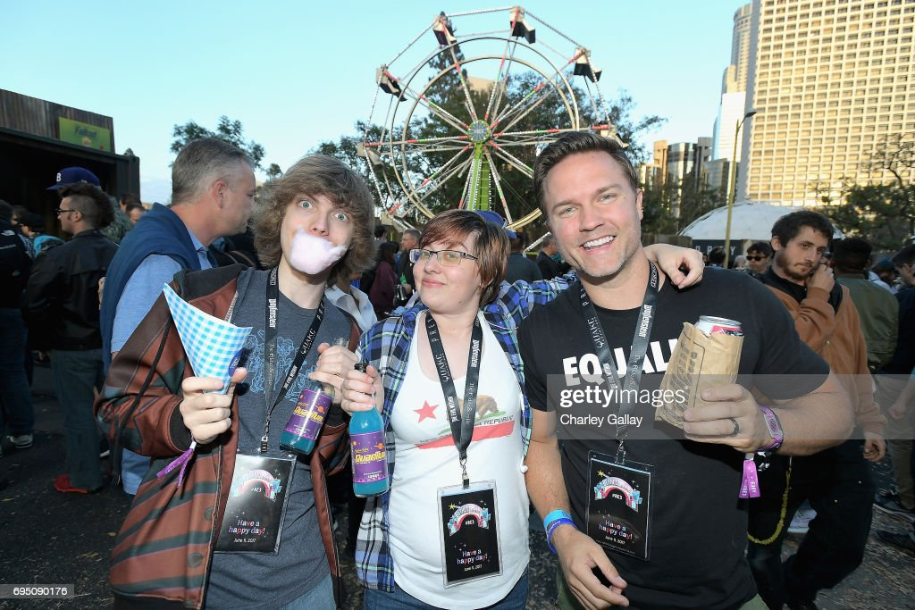 Actor Scott Porter (R) and guests attend as Bethesda Softworks shows off new video game experiences at its E3 Showcase and Bethesdaland event at the Los Angeles Center Studios ahead of the Electronic Entertainment Expo (E3) happening at the Los Angeles Convention Center from June 13-15, 2017, on June 11, 2017 in Los Angeles, California.